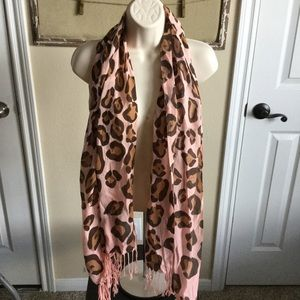 Accessories - Pink and leopard extra long scarf NWT